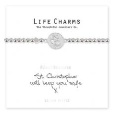 "Life Charms Bracelet - "" ST CHRISTOPHER Will Keep You Safe x "" - Beautifully Gift Boxed"